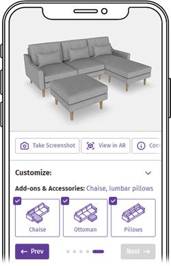 Mobile preview of ATLATL's Arrow Sofa demo